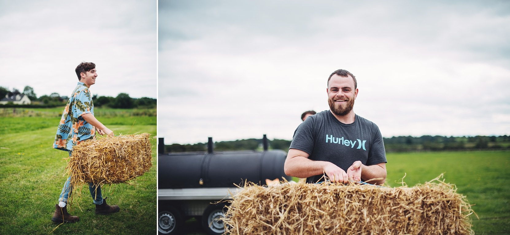 Bales of hay for wedding seats