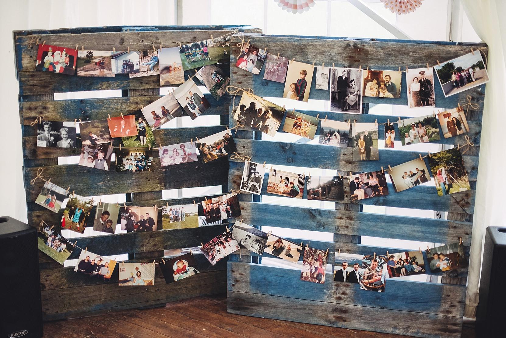 Photos hanging at a wedding