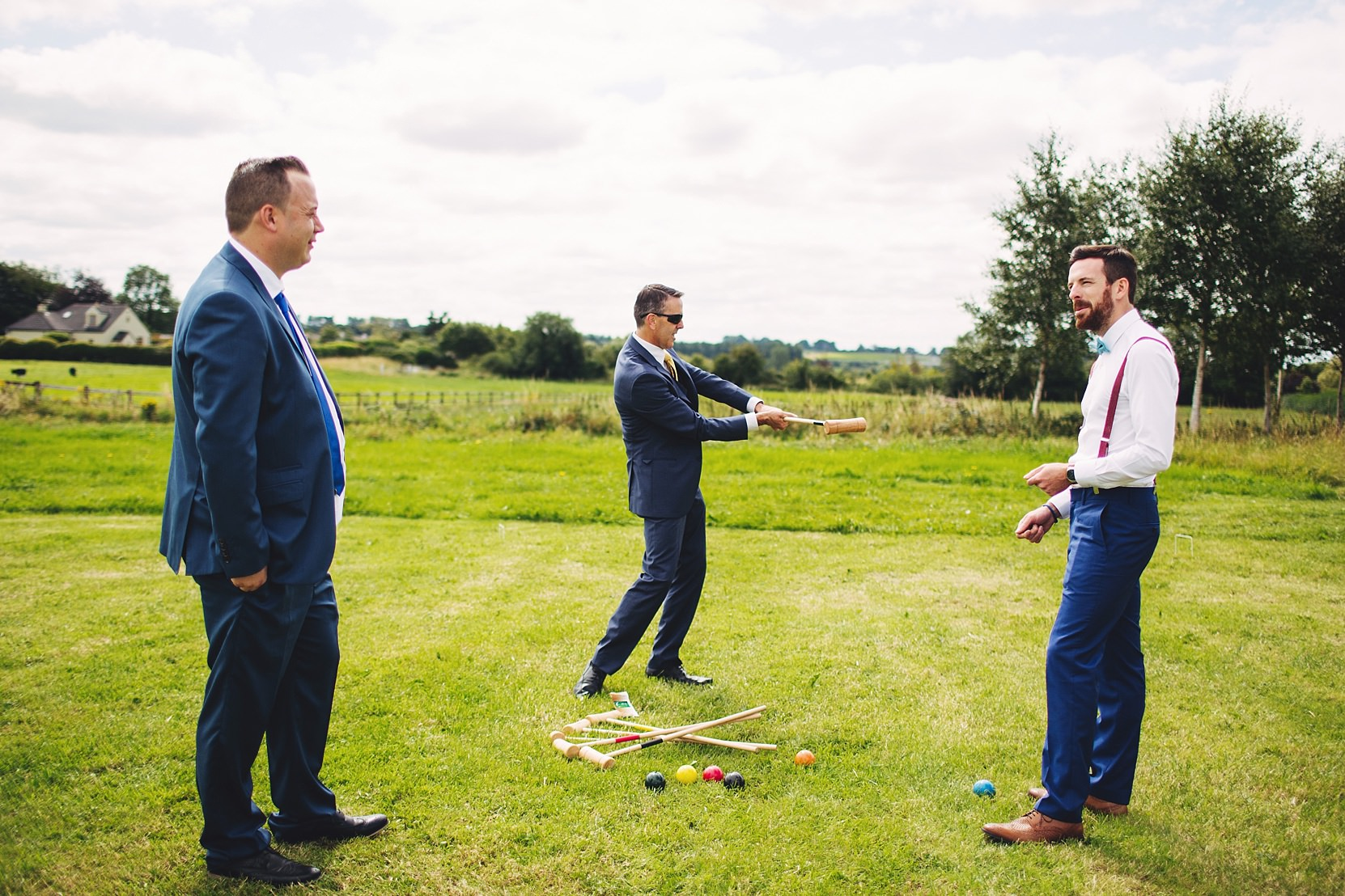 Groom playing games at his wedding