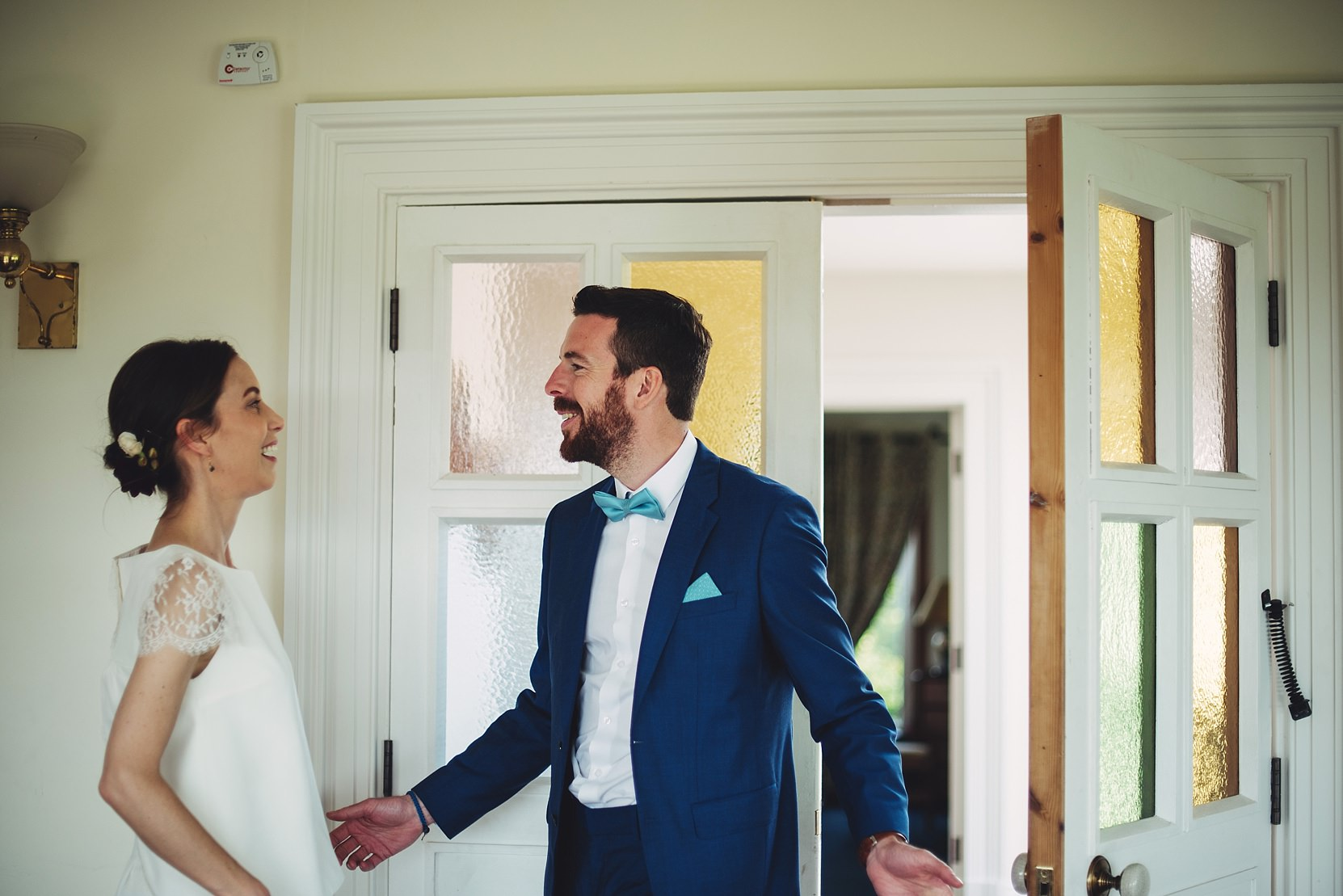 A first look at a wedding with the bride and groom