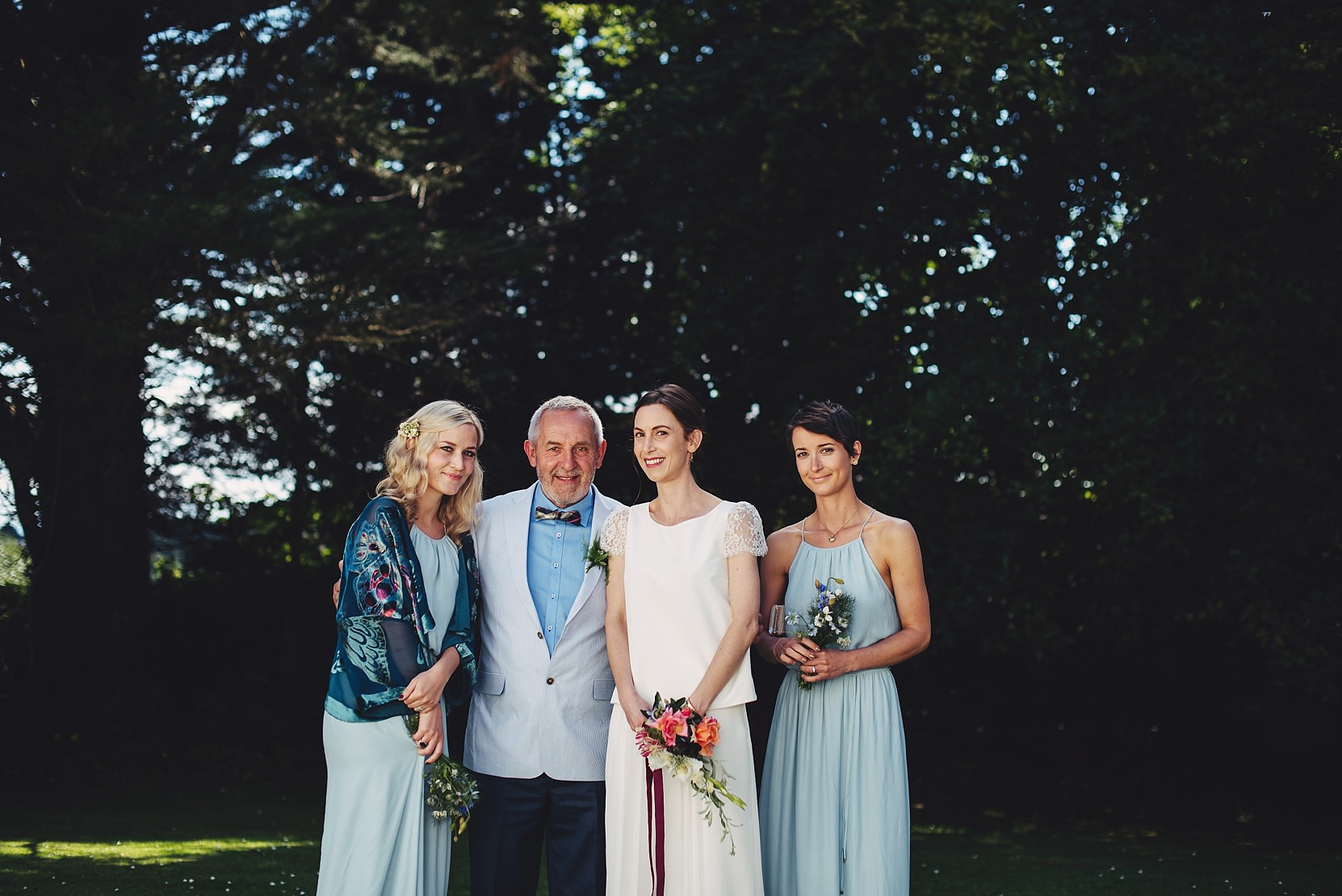 Bridal party photo with the brides dad outside the church in Limerick