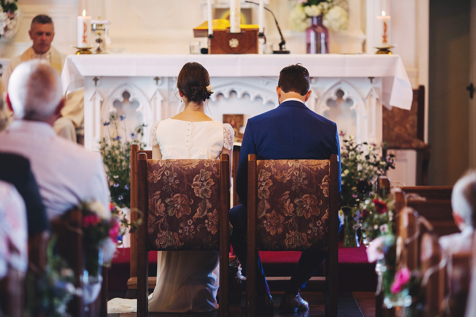 Bride and Groom in a church in Limerick on their wedding day