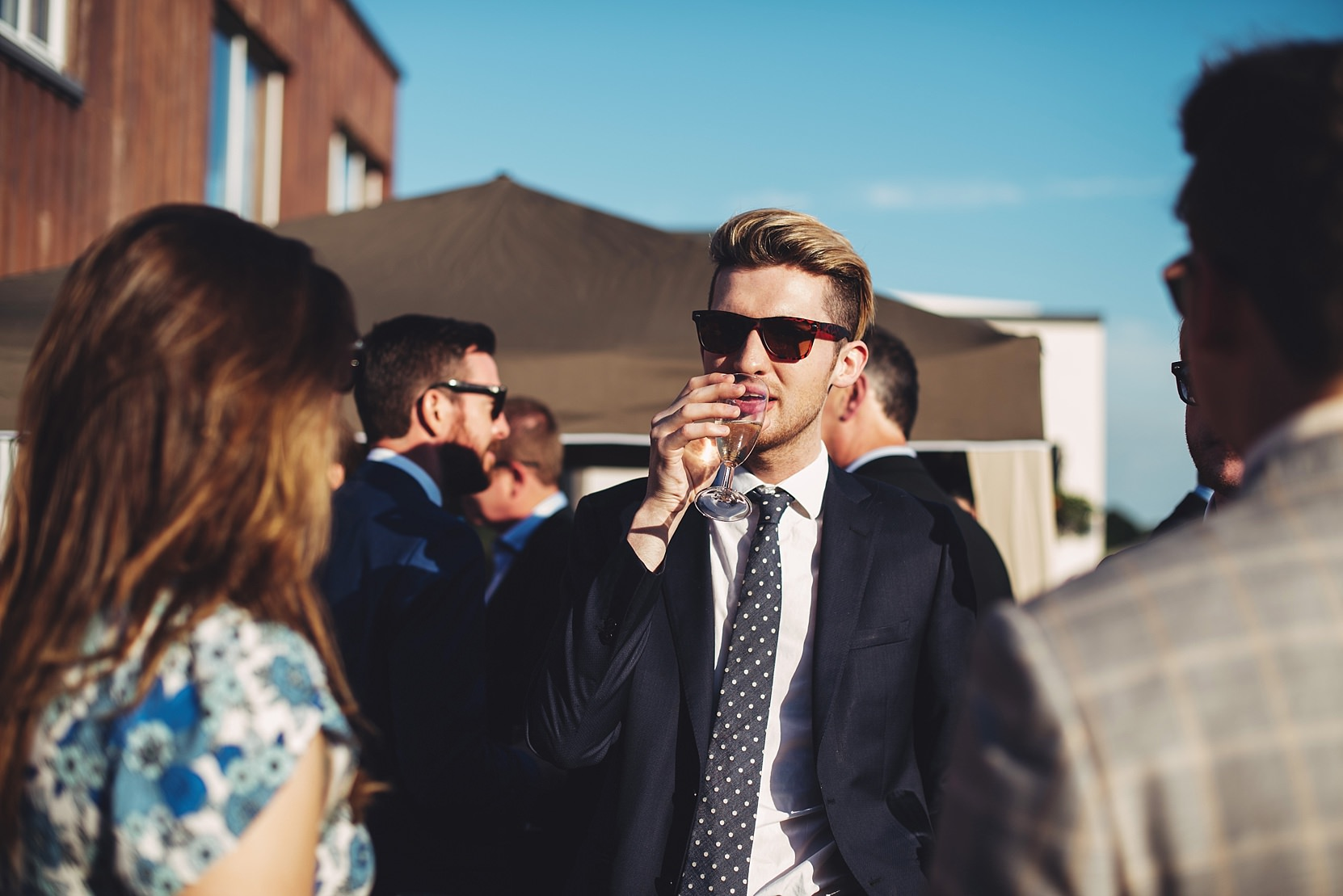 A man with good style at a wedding