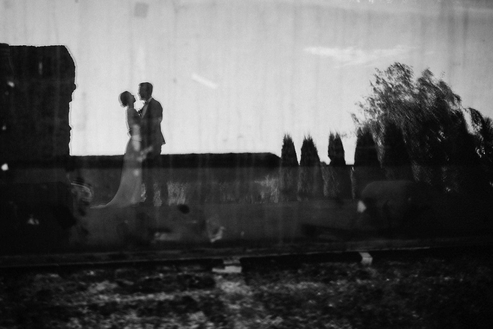 Bride and Groom black and white portrait and reflection