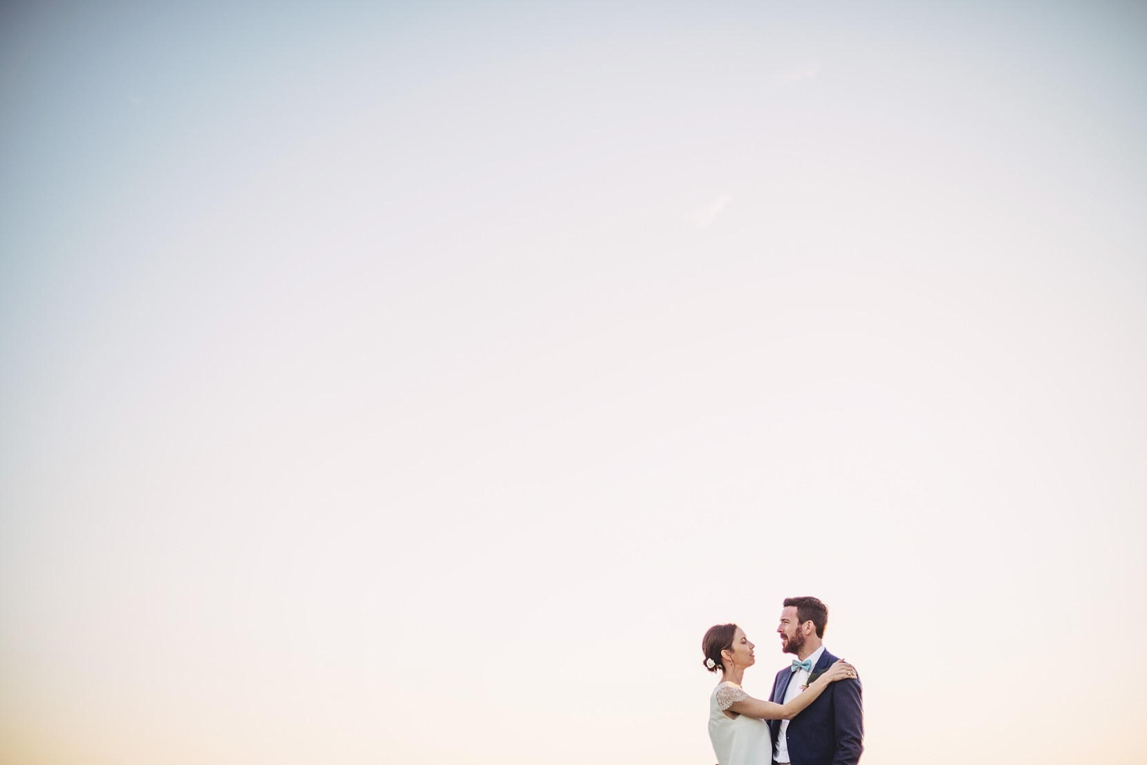 Beautiful shots of a bride and groom at sunset