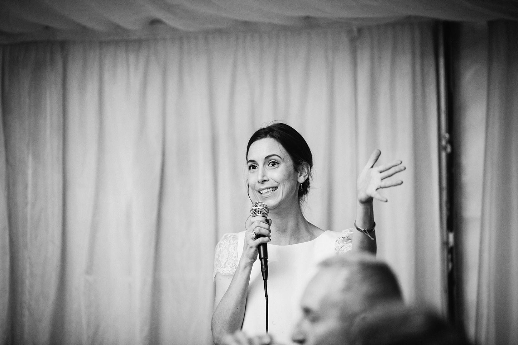 Bride making a speech at her wedding