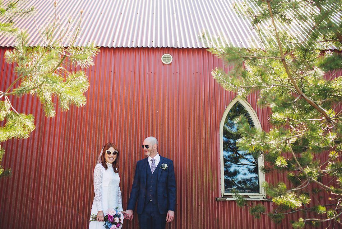 Bride and Groom at Tin Church