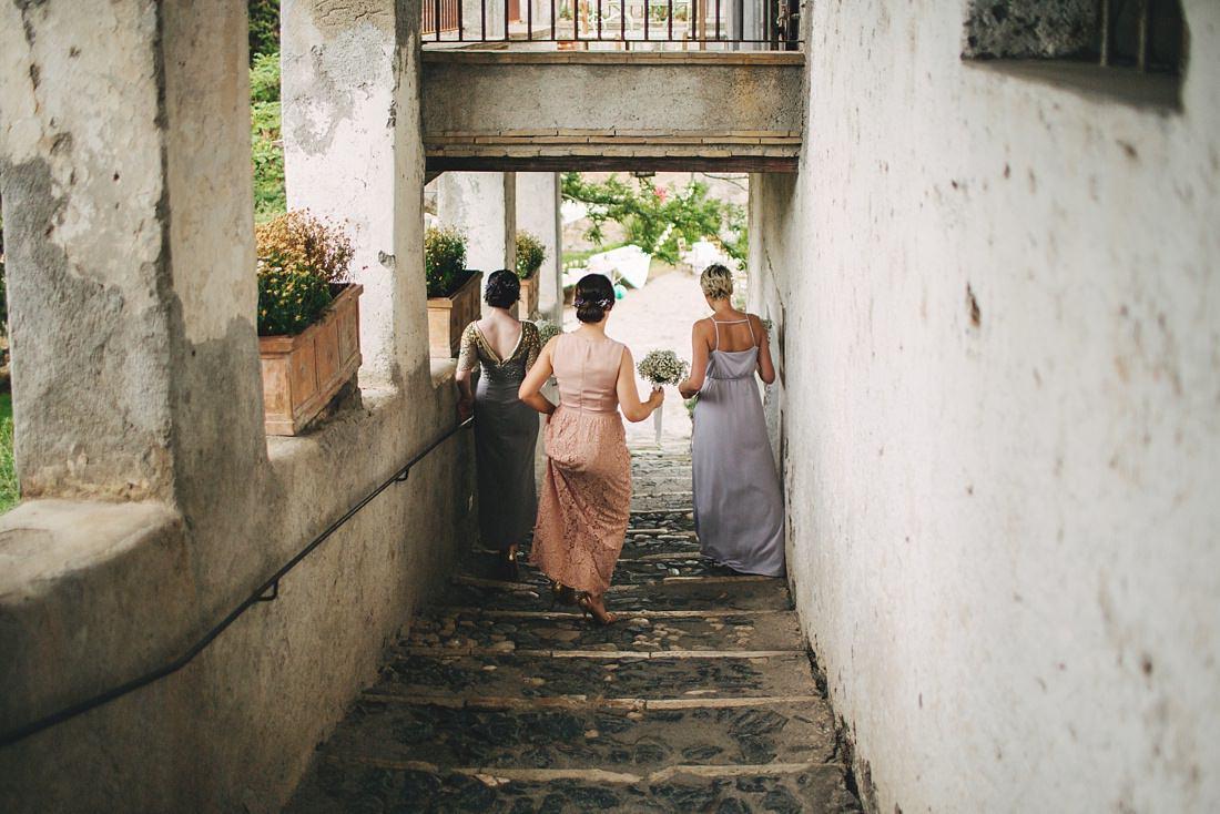 Bridesmaids on Steps